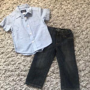 EUC Boys Children's Place Shirt/Jeans Set Size 2T